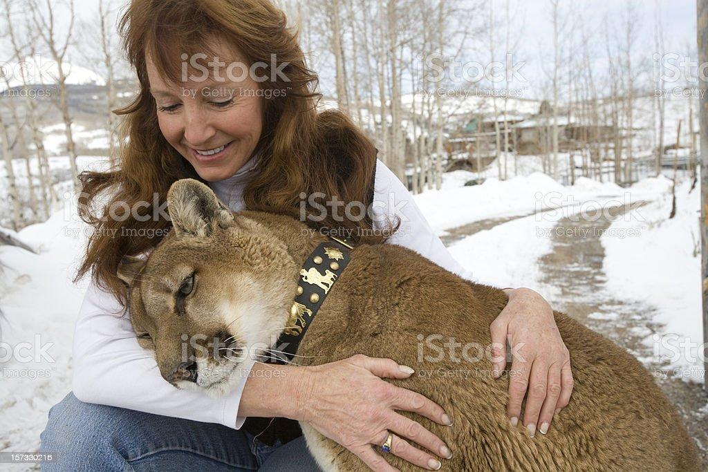 Woman with Mountain Lion royalty-free stock photo