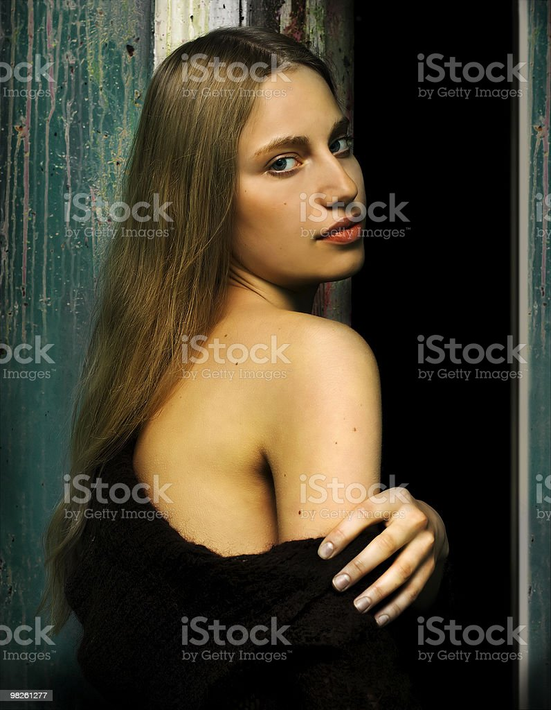 Woman with naked shoulder royalty-free stock photo