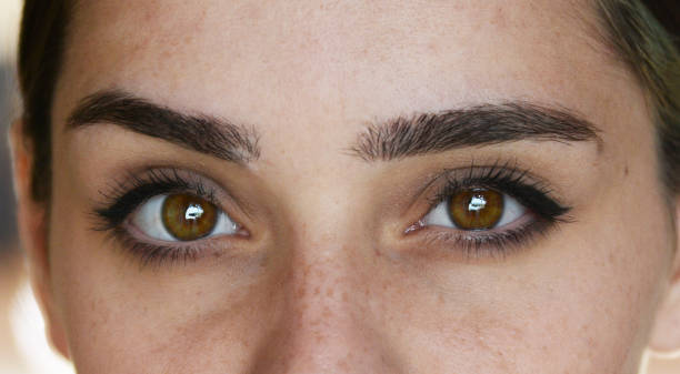woman with natural make up - eyelid stock pictures, royalty-free photos & images