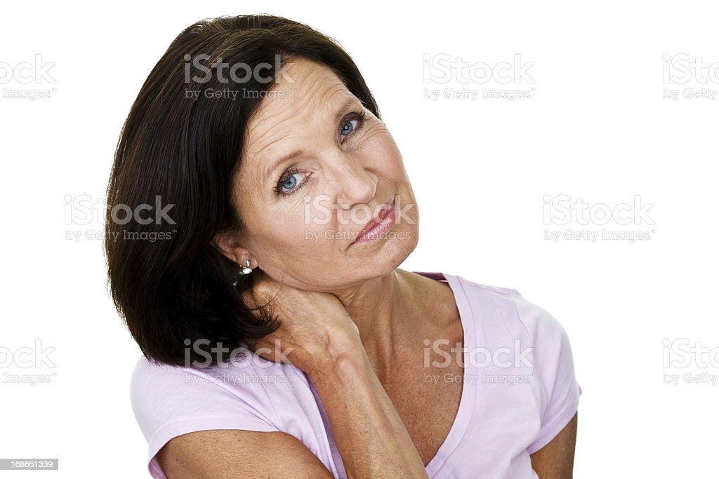 Woman with neck pains royalty-free stock photo