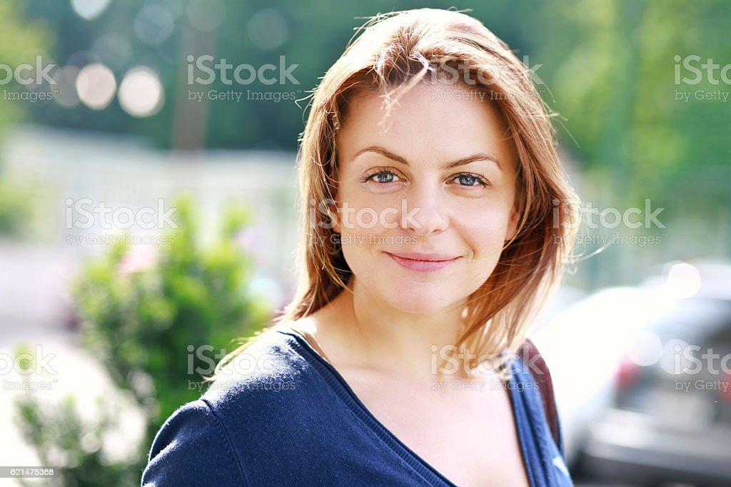 woman with nice smile stock photo