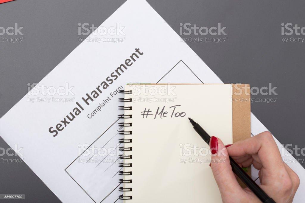 Woman with note # Me Too Woman with note # Me Too Abuse Stock Photo
