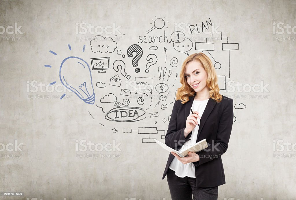 woman with notebook and startup idea sketch on concre royalty-free stock photo