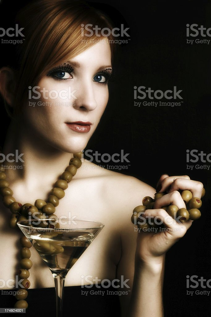 Woman with Olives stock photo