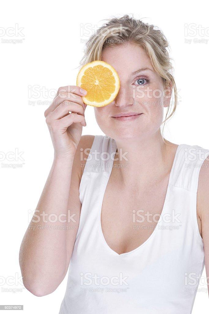Woman with orange royalty-free stock photo