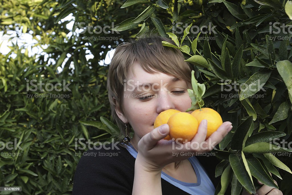 Woman with orange royalty-free stock photo