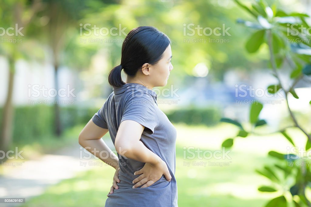 Woman with Pain in Her Lower Back stock photo