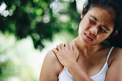 istock Woman with pain in shoulder and upper arm , Health Care Concept 1032682082