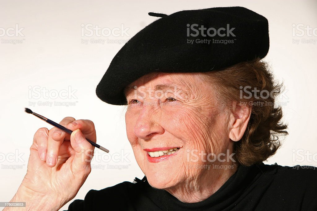 Woman with paint brush royalty-free stock photo