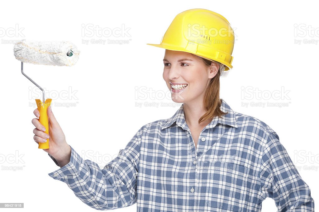 Woman with paint roller royalty-free stock photo