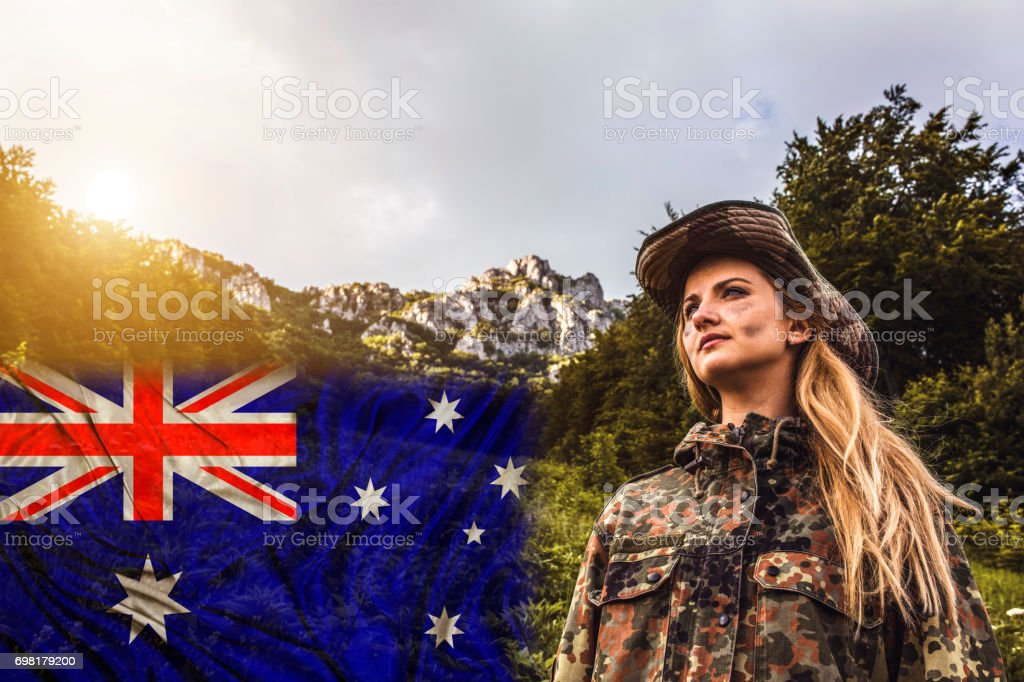 Woman with painted national flag of Australia stock photo