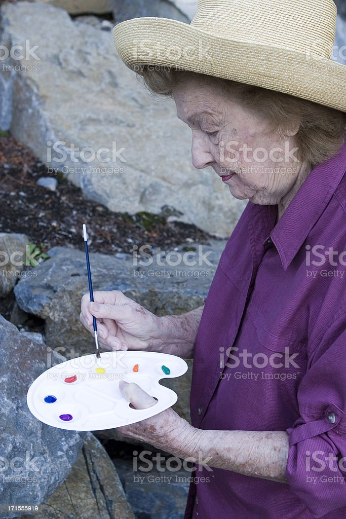 Woman with palette royalty-free stock photo