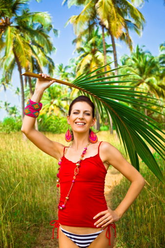 Woman With Palm Leaf Stock Photo - Download Image Now