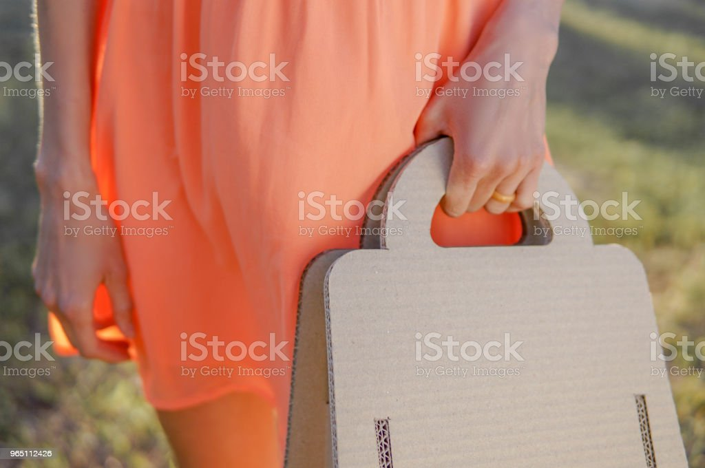 Woman with paper eco bag outdoors royalty-free stock photo