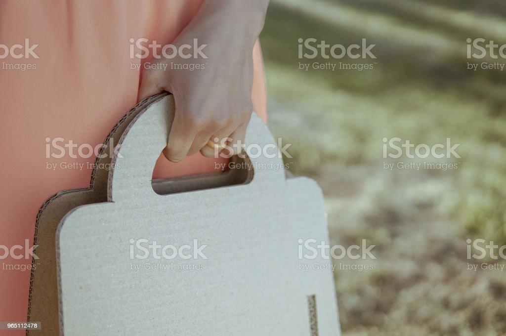 Woman with paper eco bag outdoors zbiór zdjęć royalty-free