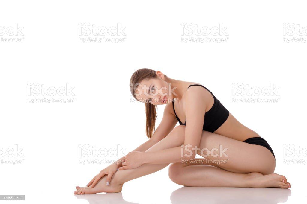 woman with perfect body in black underwear - Royalty-free Adult Stock Photo