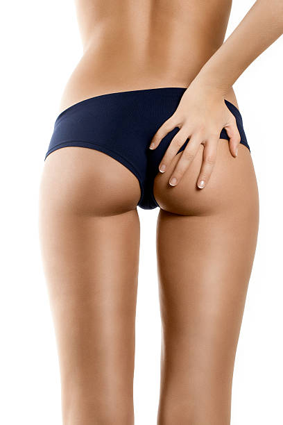 Woman With Perfect Shape, Beautiful Buttocks & Hand On, White stock photo
