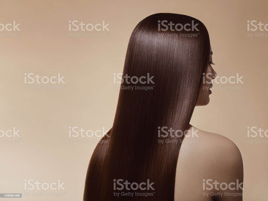 Woman with perfect straight hair stock photo