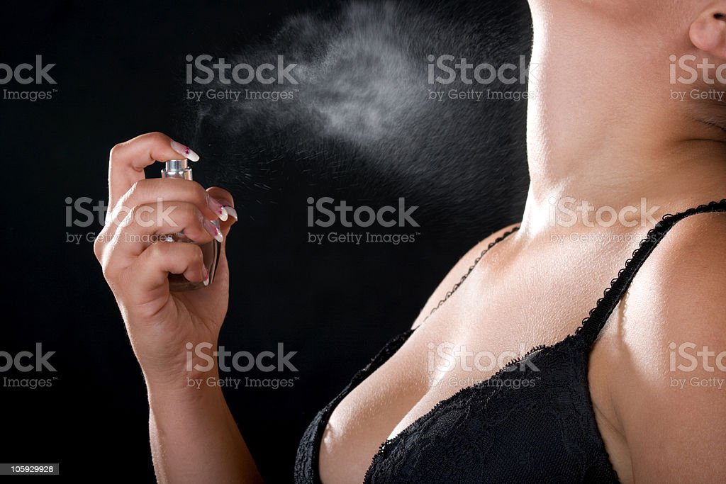 Woman with perfume royalty-free stock photo