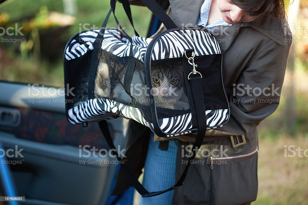 Woman with pet carrier stock photo