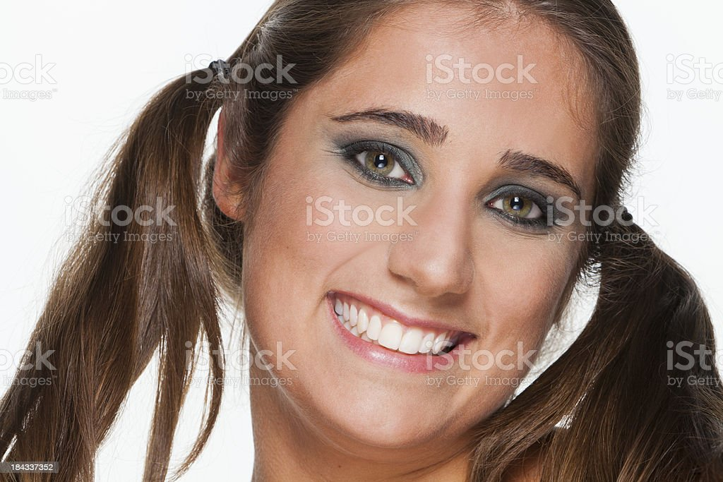 Woman with pigtails royalty-free stock photo
