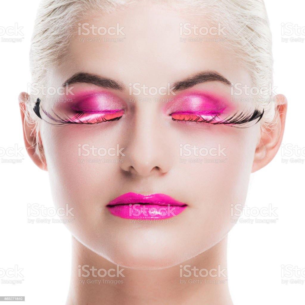61a597400bb Woman With Pink Fancy Makeup Stock Photo & More Pictures of Adult ...