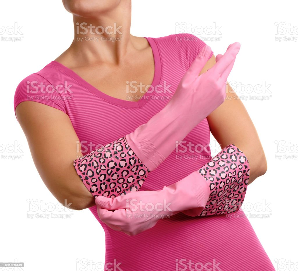Woman with Pink Leopard Print Rubber Gloves on White royalty-free stock photo