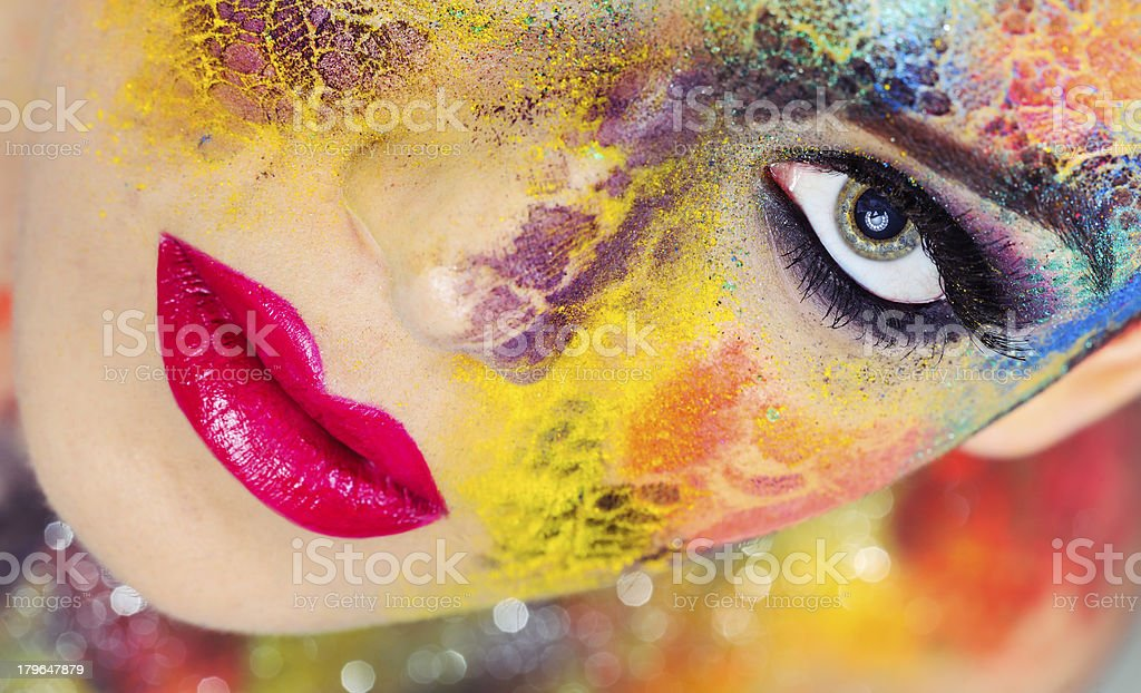 woman with pink lips royalty-free stock photo