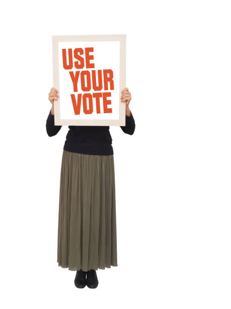 Woman with placard to vote, banner. Ideal female protest etc. women's suffrage stock pictures, royalty-free photos & images