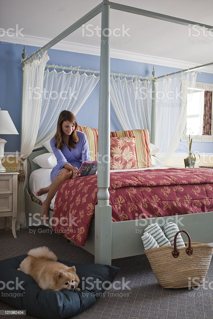 Picture of: Woman With Pomeranian Dog In Hotel Room Stock Photo Download Image Now Istock