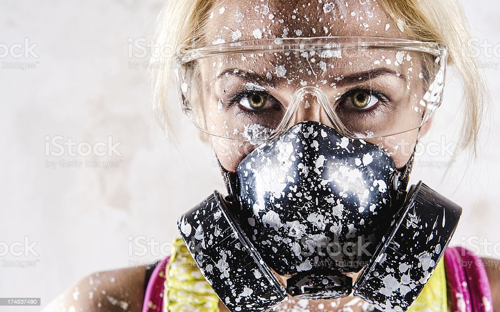 Woman with protective filter mask royalty-free stock photo
