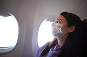 Woman with protective mask in a plane stock photo , coronavirus