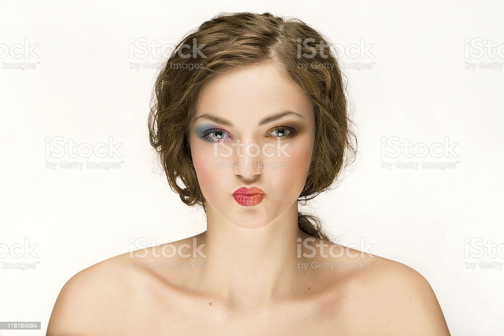 Woman With Puckered Lips royalty-free stock photo