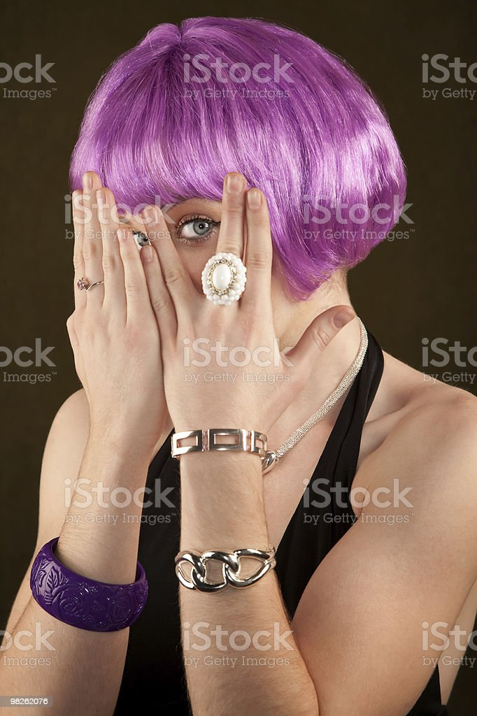 Woman with Purple Hair royalty-free stock photo