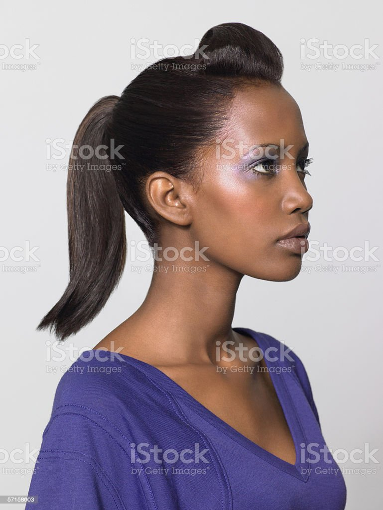 Woman with quiff hairstyle stock photo