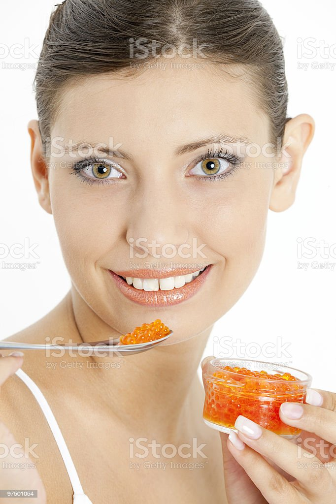 woman with red caviar royalty-free stock photo
