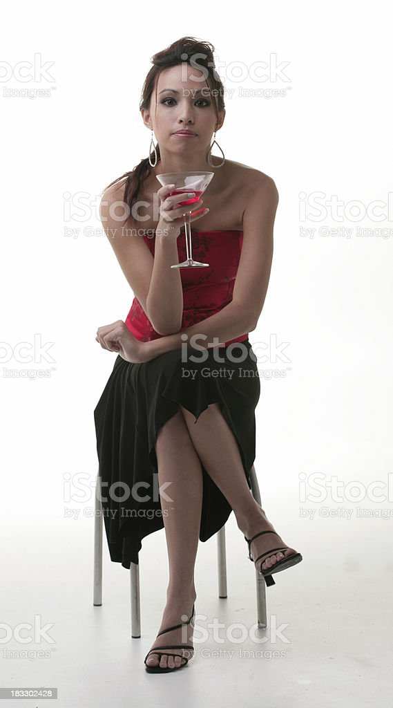 Woman with red cocktail royalty-free stock photo