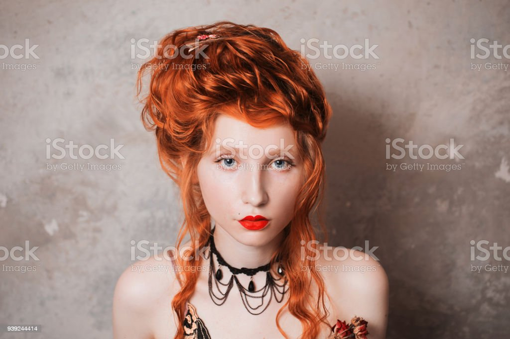 A Woman With Red Hair In A Nightgown Redhaired Girl With