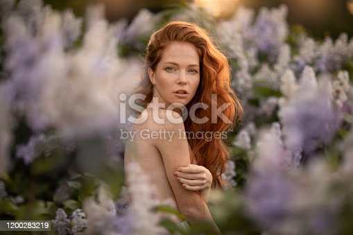 1054970060 istock photo A woman with red hair long and curly in a Bush with purple flowers 1200283219