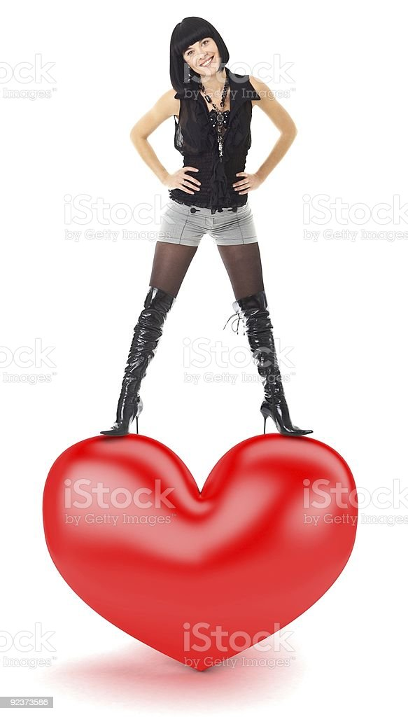 woman with red heart royalty-free stock photo