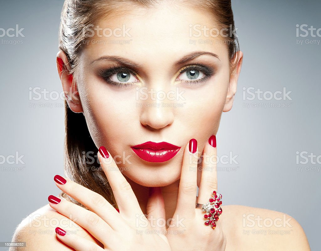 Woman with red lips and nails royalty-free stock photo