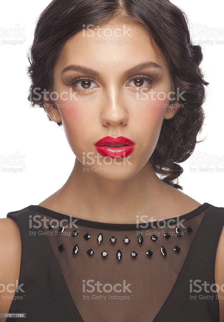 Woman with red lipstick royalty-free stock photo
