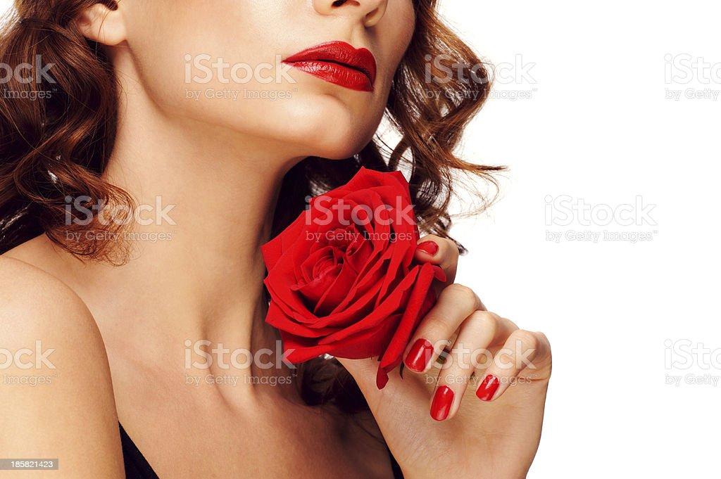 Frau mit rotem Lippenstift Lizenzfreies stock-foto
