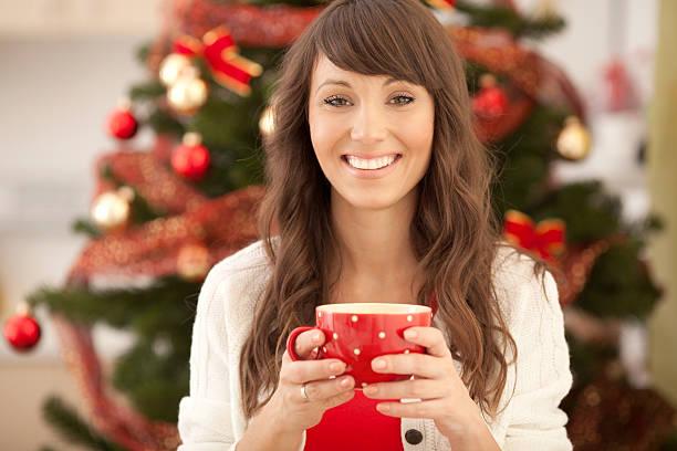 Woman with red mug. stock photo