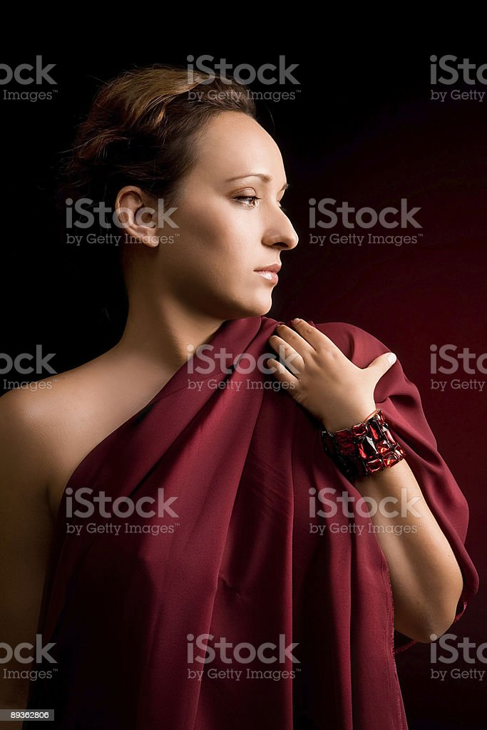 woman with red textile royalty-free stock photo