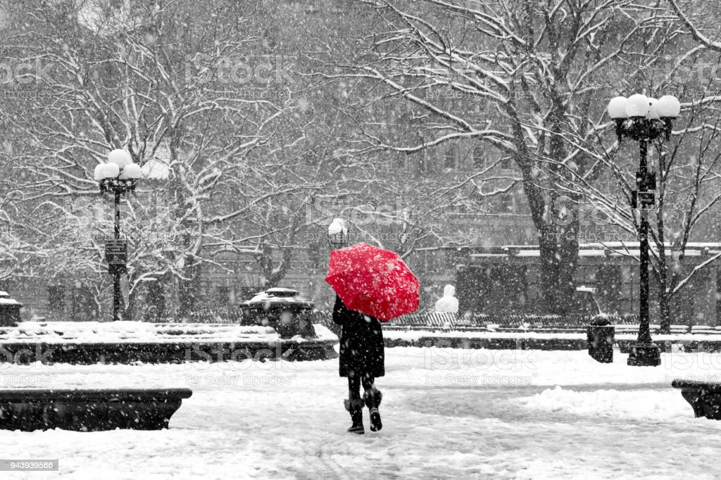 Woman With Red Umbrella In Black And White Snowstorm New York City