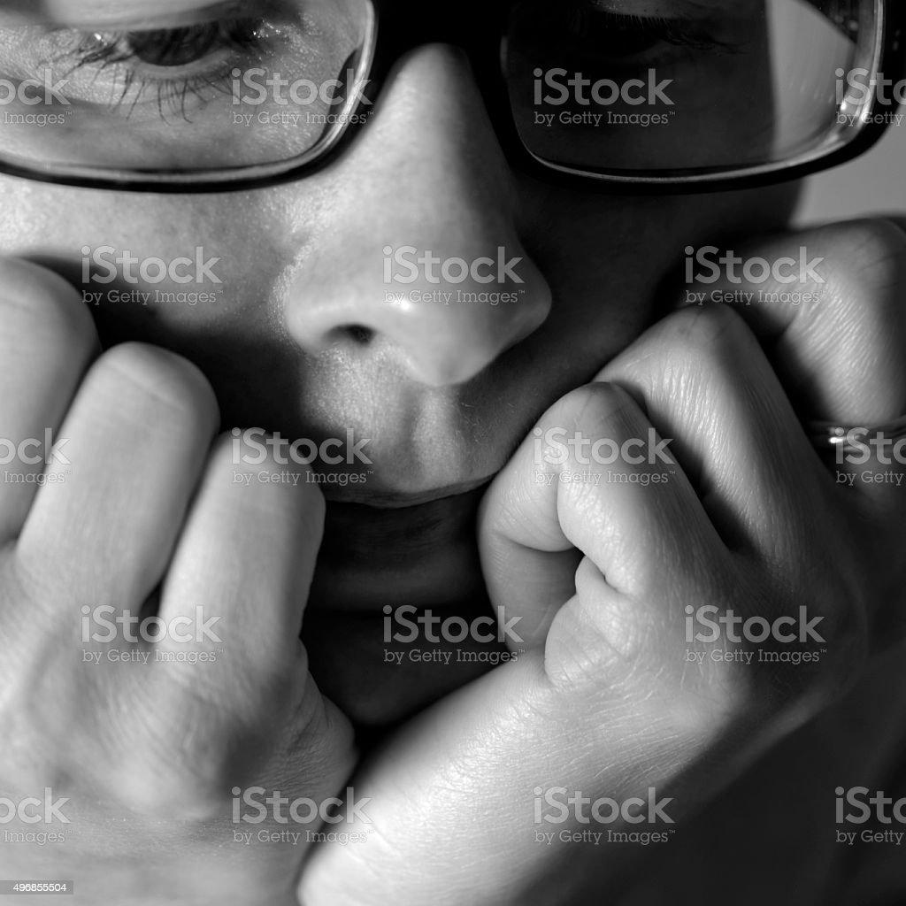 Woman With Sad Face stock photo