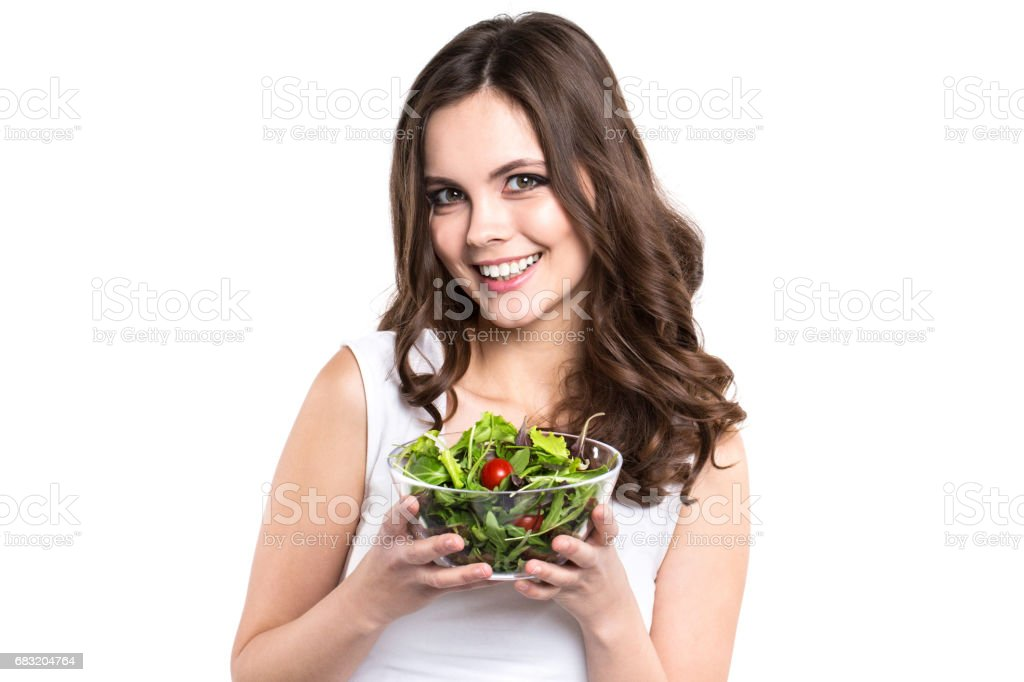Woman with salad Isolated. Lizenzfreies stock-foto