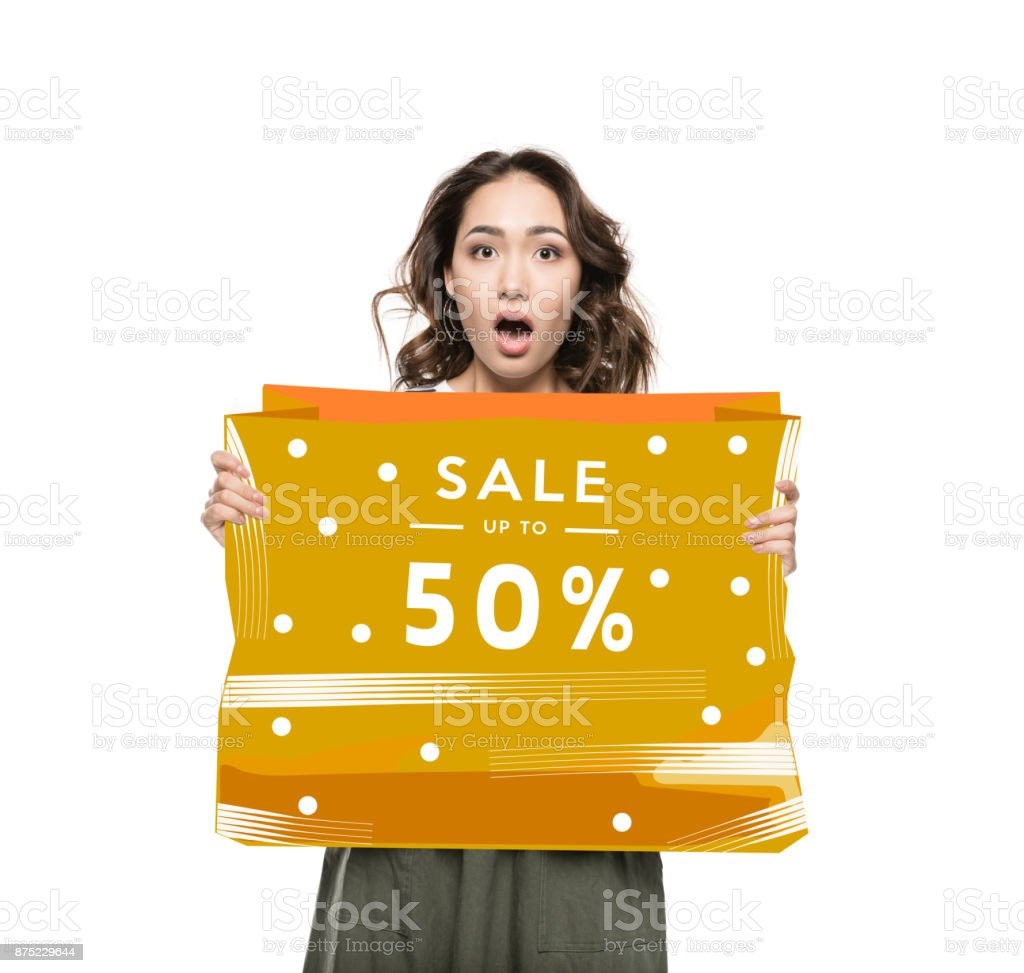 Woman with sale banner stock photo