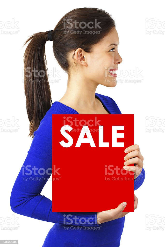 Woman with sale sign royalty-free stock photo